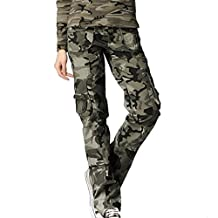 FEOYA Womens Skinny Trousers Cotton Blend Camouflage Camo Printed Pants - 4 Sizes Available