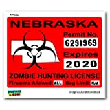 Nebraska NE Zombie Hunting License Permit Red - Biohazard Response Team - Window Bumper Locker Sticker