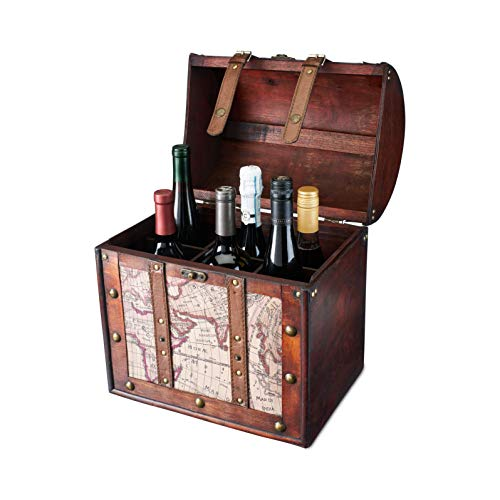 (Chateau 6 Bottle Old World Wooden Wine Box by Twine)