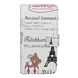 JAJAY Cartoon Winnie the Eiffel Tower Pattern Full Body Case with Card Slot for iPhone 5/5S