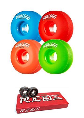 mini-logo 53 mm c-cutスケートボードWheels with Bones Bearings – 8 mmスケートボードベアリングBones Super Redsスケート定格 – 2アイテムのバンドル   B06X6HFZFN
