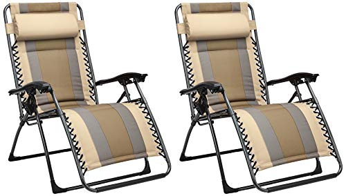 AmazonBasics Outdoor Padded Zero Gravity Lounge Beach Chair – Pack of 2, 65 x 29.5 x 44.1 Inches, Tan