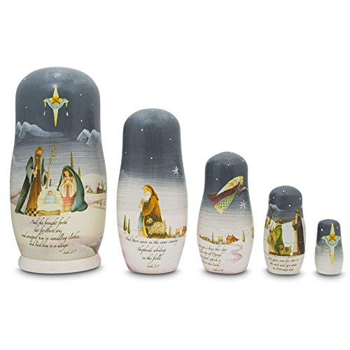 BestPysanky Set of 5 Nativity Scene Set with Bible Verses Wooden Nesting Dolls 5.75 Inches