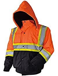 LM High Visibility Class III Reflective Waterproof Bomber Jacket W/Removable Hood