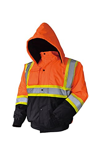 LM High Visibility Class III Reflective Waterproof Bomber Jacket W/Removable Hood (XL, HJO)