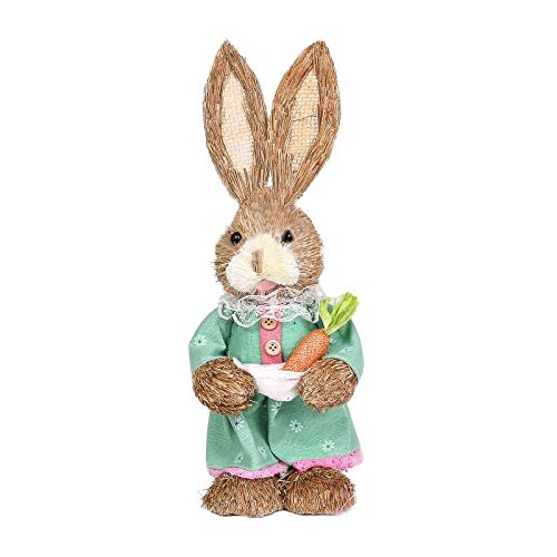 Koolee Bunny Decorations for Easter, Cute Rabbit Decor, Straw Bunnys with Carrot, Cute Craft Rabbit Figures for Party and Home, Easter Novelty Gifts for Kids