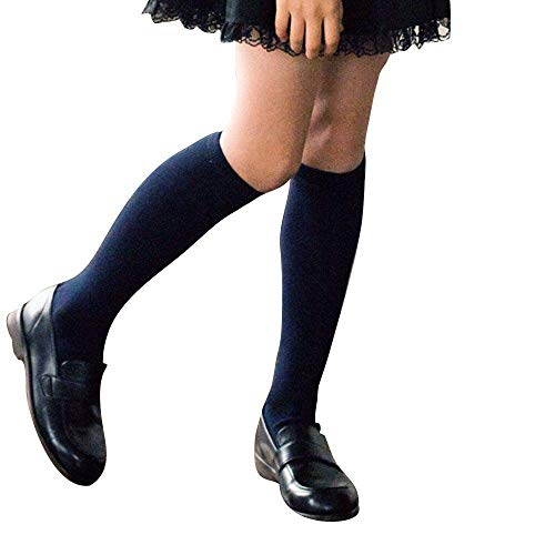3 Pack Boys & Girls School Uniform Premium Cotton Rich Knee High Socks (Dark Navy, S: Shoe size 7-9.5)