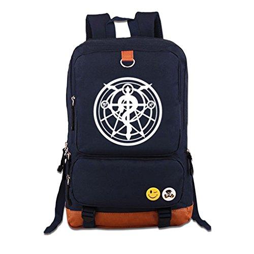 YOYOSHome Anime Fullmetal Alchemist Cosplay Luminous Bookbag College Bag Backpack School Bag (Blue)