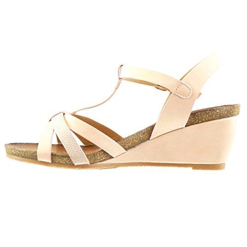 Angkorly - damen Schuhe Sandalen Mule - T-Spange - Schlangenhaut - String Tanga - Multi-Zaum Keilabsatz high heel 6 CM - Rosa