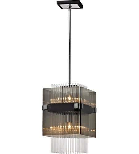 Mini Pendants 2 Light with Dark Bronze and Polished Chrome Finish Hand-Worked Iron and Glass Material Candelabra 11 inch Wide 120 Watts