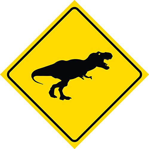 Aluminum Yellow Diamond Caution Dinosaur T-Rex Crossing Signs Commercial Metal 12x12 Square Sign