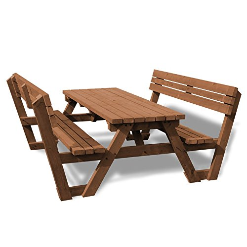 Rutland County Garden Furniture LYDDINGTON PICNIC TABLE WITH BACK SUPPORT - 4FT - BROWN - HEAVY DUTY - HAND MADE IN THE UK