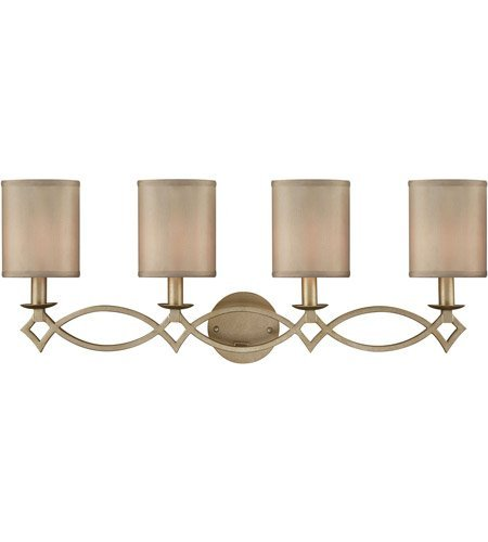 Bathroom Vanity 4 Light with Aged Silver Finish Beige Fabric Candelabra 31 inch 240 Watts - World of Lamp