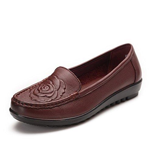 Zapatos ligeros/ medio fondo plano mujer y zapatos de las mujeres de edad/Zapatos de mamá/Suaves mujeres de mediana edad casuales zapatos de cuero al final de B