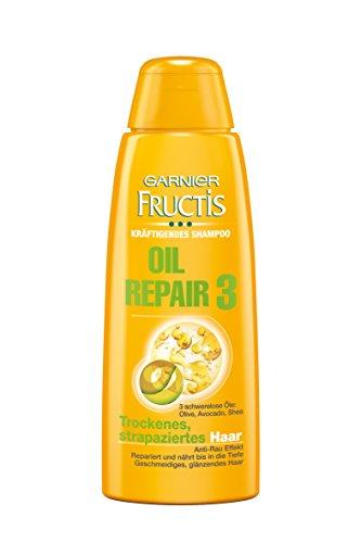Garnier Fructis Haarshampoo Oil Repair 3 / Kräftigendes Pflegeshampoo mit 3 Ölen: Oliven-, Avocado- und Shea-Nuss-Ölen  (für trockenes, strapaziertes Haar) Kleine Größe - Ideal für unterwegs, 6er Pack - 50ml