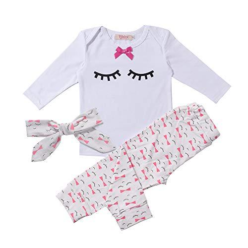 (Yilaku Eyelash Cute Newborn Baby Girl Clothes Top + Pants + Headband 3pcs Toddler Girls Infant Clothing Sets (12-18 Months, White))