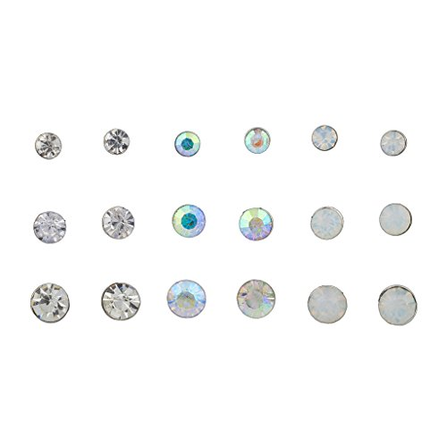 Lux Accessories Crystal AB White Opal Circle Stone Multiple Earring Set 9PC