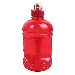 Red 64OZ/1.89L BPA Free Plastic Water Bottle Half Gallon Drink Gym Canteen Jug Container Sports Cap Camping Hiking Drinking Water Bottle