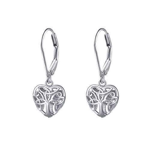 S925 Sterling Silver Celtic Knot Tree of Life Heart Dangle Drop Leverback Clasp Earrings for Women Girl Mother's Day Gifts
