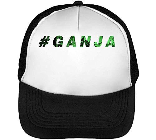 #Ganja Cannabis Leaf Fashioned Gorras Hombre Snapback Beisbol Negro Blanco