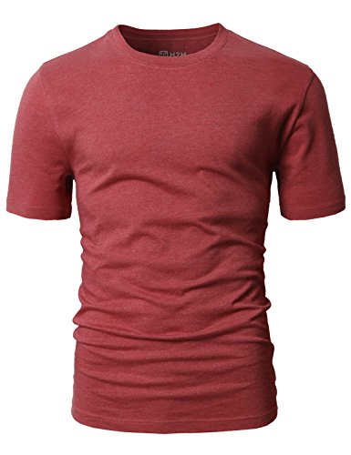 H2H Mens Business & Daily Item Fine Soft Cotton Crew Neck T-Shirt Maroon US S/Asia M (CMTTS0198) by H2H (Image #2)