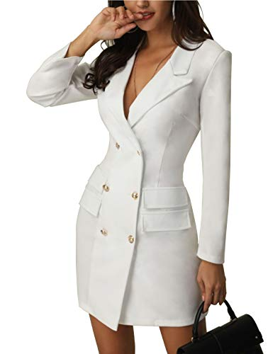 Women's British Double Breasted Turn Down Collar OL Blazer Dress Slim Fit Office Dress Mini Long Trench Coat (XL, White)