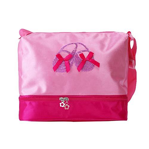 Luerme Dance Bag Shoulder Bag Tote Bag Girl's Dance Duffle Bag Pink Princess Ballet Latin Dance Handbag for Little Girls Ballerina Kid Teen Dancer with Double Layer Compartment & Adjustable -