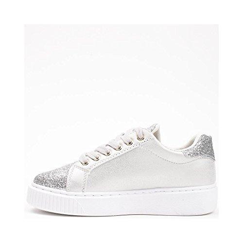 Ideal Shoes, Damen Sneaker Silber