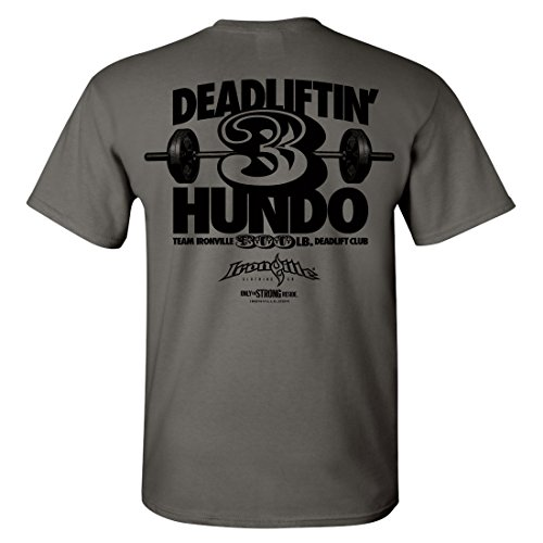 Ironville 300 Pound Deadlift Club T-Shirt 3 Hundo Series (medium, charcoal gray)