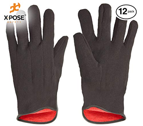 Protective Work Gloves - 12 Pack For Industrial Labor, Home and Gardening 100% 14oz Cotton, Red Fleece Lining - Men's Large - Brown by Xpose -