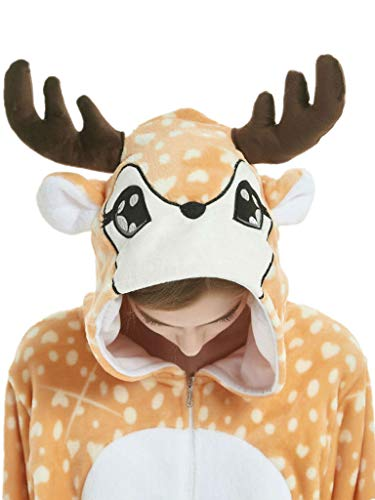 Adult Onesie Pajamas Deer Costume for Women Men Teens Girls Animal Onsie Cosplay -