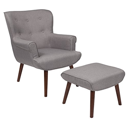 Flash Furniture Bayton Upholstered Wingback Chair with Ottoman in Light Gray Fabric