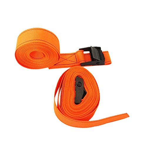 MagiDeal 2 Pieces Heavy Duty Metal Cam Buckle Tie Down Lashing Straps for Kayaks, Canoes, Surfboard and Roof-Mounted Cargo - Orange, 5M by MagiDeal