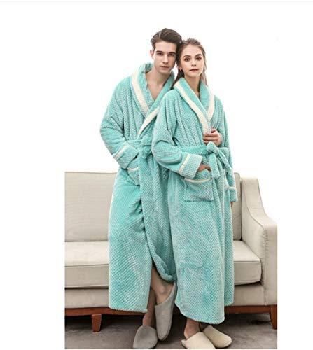 intera Plus doccia peluche notte Colored Da da super caldo da Blue Housecoat inverno uomo Green Solid morbido donna camicia tasche Dimensioni XXX vestaglia coppia flanella Sleepwear cesto con lunghezza cqR8TIq
