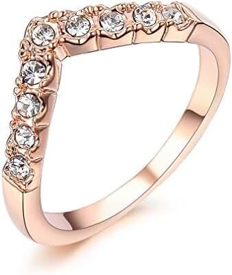 Bella Lotus Princess Crown Rings Crystal Rose Color Girls Women Knuckle Ring