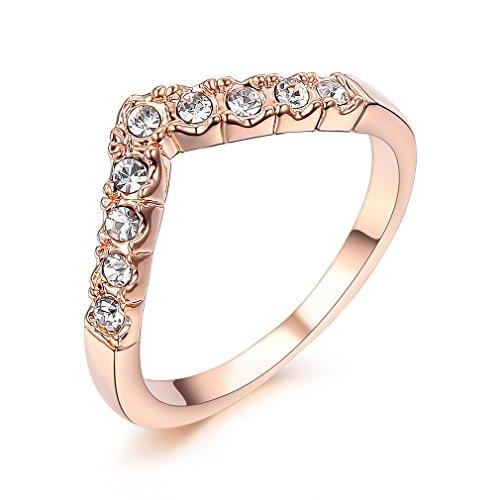 Bella Lotus Princess Crown Rings Crystal Rose Color Girls Women Knuckle Ring, Size 6 (Princess Bella)