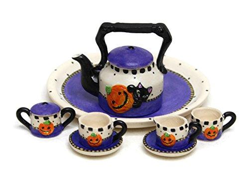Unique Design Dollhouse Miniature Semi Matte Finish Porcelain Tea Set, 10 pcs Set, Halloween Themed Design, Hand-Painted, Miniature Fairy Garden Accessories, DIY Charm Pendant Jewelry Supplies.