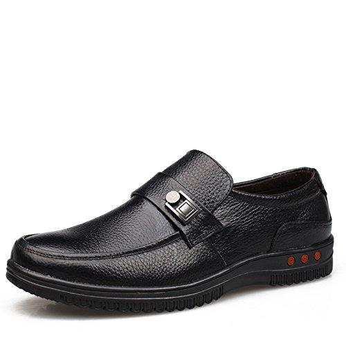 WZG affaires chaussures casual chaussures en cuir chaussures pour hommes en cuir dentelle ronde crampons en cuir de chaussures d'automne hommes 9.5 , black , 39