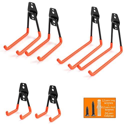 Orange Hook (Ihomepark Heavy Duty Garage Storage Utility Hooks for Ladders & Tools, Wall Mount Garage Hanger & Organizer - Tool Holder U Hook with Anti-Slip Coating (6 Pack - Orange))