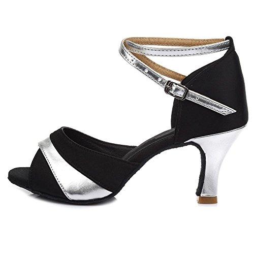 YFF Latin Dance Shoes High Heel for Ladies Girls Ballroom Tango Shoes 7CM 7CM Silver Ulq6J0