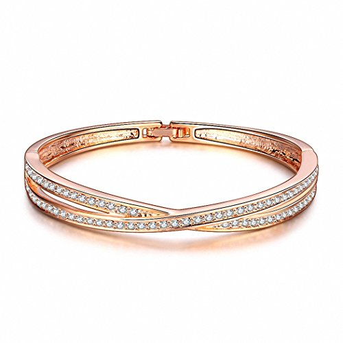 Kalapure Rose Gold and Platinum Plated Diamond Accent Bangle Bracelets for Womens Love Gift (Champagne)