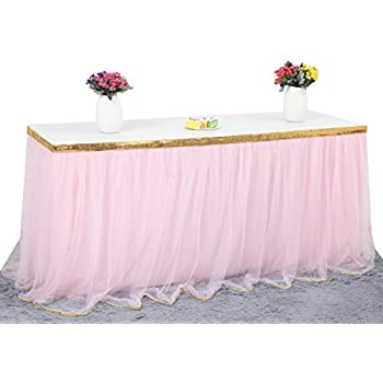 HBBMagic 3 Yards Handmade Elegant Fluffy Tulle Table Skirt For Rectangle Or Round  Tables For Party