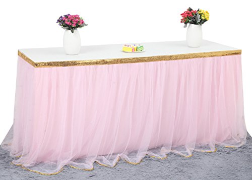 HBBMagic 3 Yards Handmade Elegant Fluffy Tulle Table Skirt for Rectangle or Round Tables for Party Decoration, Meetings, Birthdays, Wedding, Baby Shower