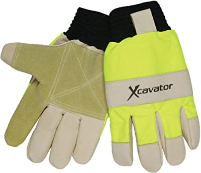 MCR Safety 940HVXL X-Cavator Double Grain Pigskin Leather Palm Mining Men's Gloves with 2-Inch Black Ribbed Elastic Knit, Beige/Black, X-Large