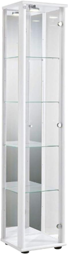 KMöbel Vitrina en Color Blanco con iluminación LED y Bloqueo y 4 estantes de Vidrio Regulables en Altura