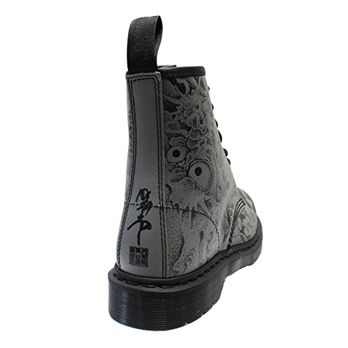 OT 8 Leather Boots Black Martens Gunmetal Dr Womens Eyelet 1460 FwnBa6Otq