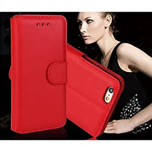 DD Genuine Stylish Oil PU Leather Flip Stand Cover Wallet Photo Frame Card Slot Case for iPhone 6 Plus (Assorted Colors) , Red