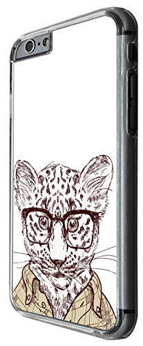 936 - Cool cute fun baby leopard cheeter nerd glasses clothing wildlife cartoon illustration doodle cat kitten feline Design For iphone 5C Fashion Trend CASE Back COVER Plastic&Thin Metal -Clear