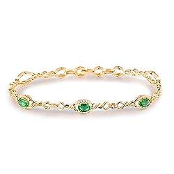 White Yellow Gold Emerald Diamond Bracelets