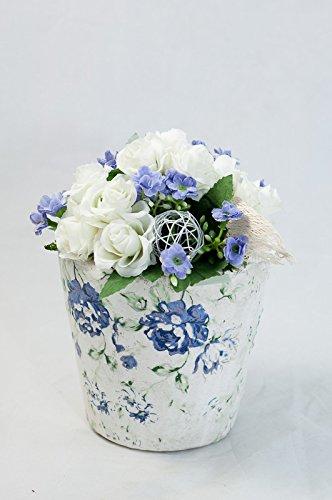 Tischgesteck In Blau Weiss Mit Roschen Tischdeko Mit Kunstlichen